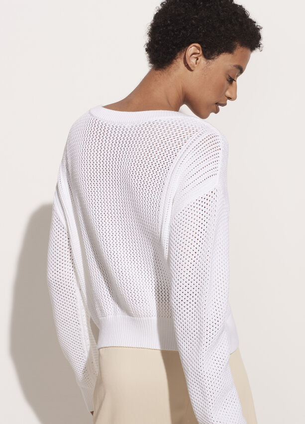 Vince Mixed Mesh Stitch Pullover