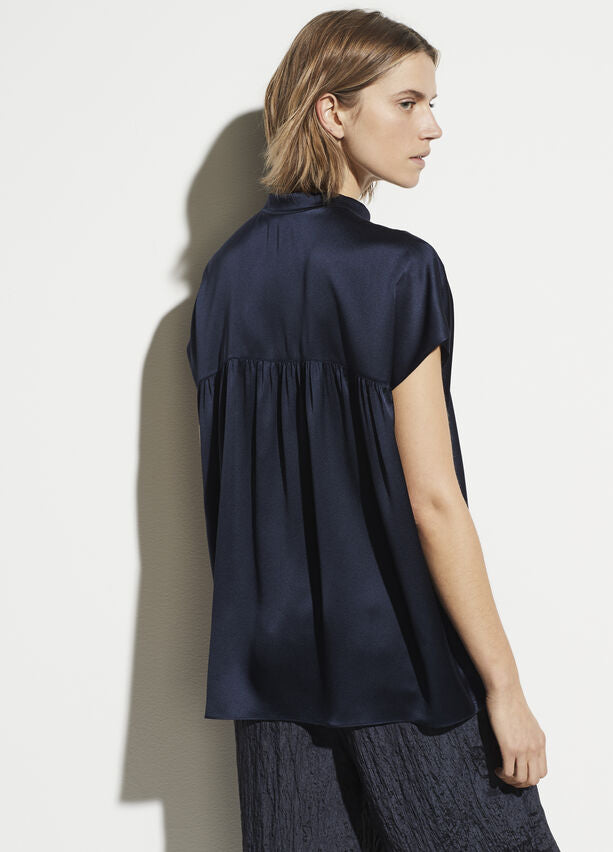 Vince Sleeveless Shirred Back Blouse