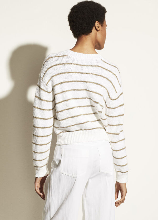Vince Textured Stripe Crew Sweater