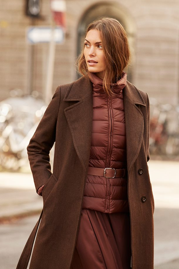 Coat on model layered under a wool coat.