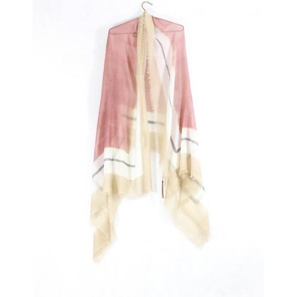 A draped view of the Ama Pure Three Frames scarf in rose.