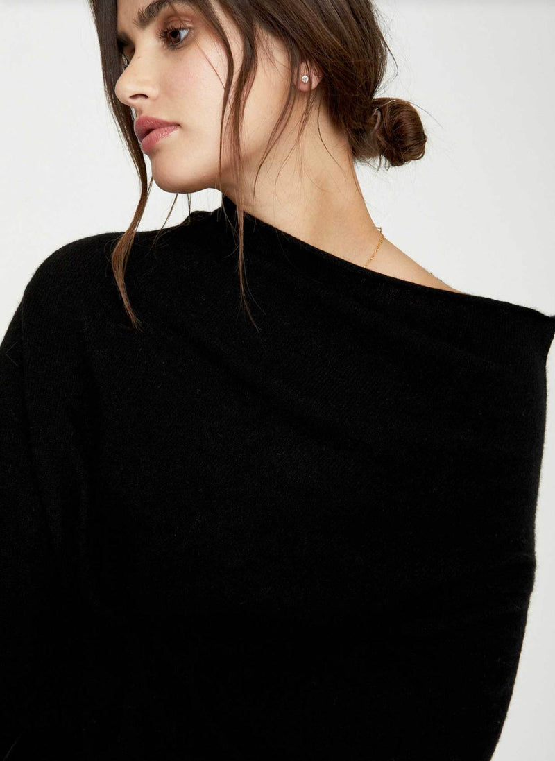 Close up on neckline of sweater on a model.