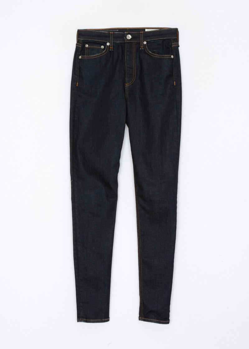 A flat of the Nina Skinny Jean in indigo rinse.