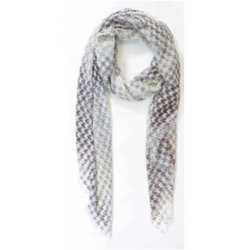 A flat of the Ama Pure Scarf in a faded grey and white houndstooth print.