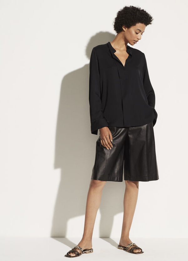 Vince Slim Band Collar Blouse