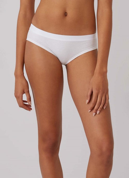 Front of white underwear on a model.