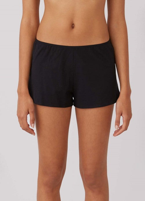 Cropped photo of front of black shorts on model.