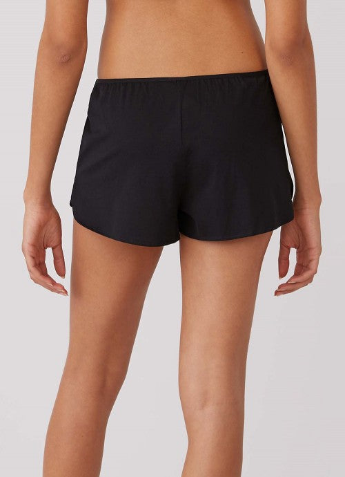 Cropped photo of back of black shorts on a model.