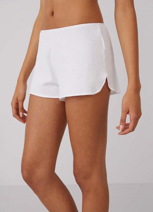 Cropped photo of side of white shorts on a model to show side slit detail.