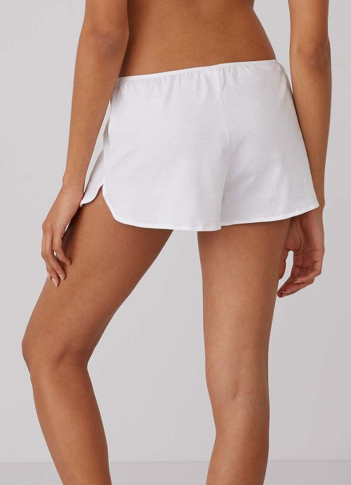 Cropped photo of back of white shorts on a model.