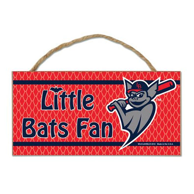 "Louisville Bats Bats Wooden Sign ""Little Bats Fan"""