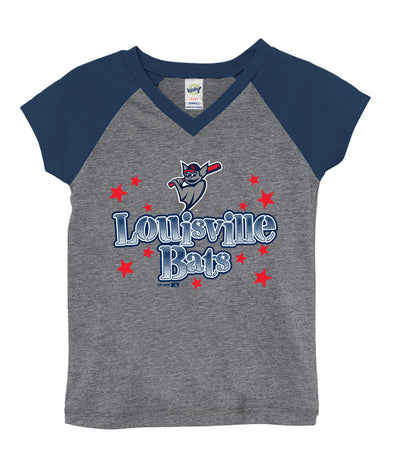 Toddler Girls V-Neck Raglan Tee