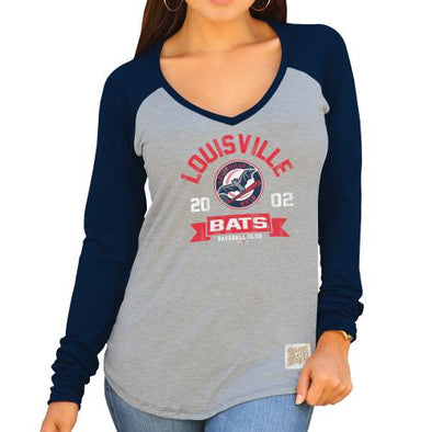 Louisville Bats Women's V-Neck Raglan with LBB Logo in Wht/Navy