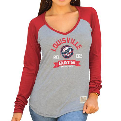 Louisville Bats Women's V-Neck Raglan Sleeve LBB logo in Red