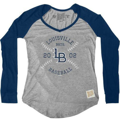 Louisville Bats Women's V-Neck Raglan Stitches in Navy
