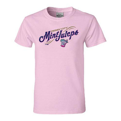 Louisville Bats Women's Mint Julep Pink Wordmark Tee