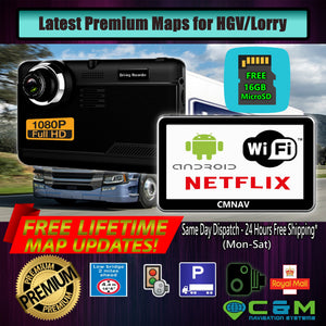 "7"" CMNAV 360 TRUCK (NO Traffic) - Built-in FullHD Dashcam, (768mb RAM), Android, Wi-Fi, NETFLIX, Latest 2020 EU+UK Maps and Premium POIs - C & M Navigation Systems"
