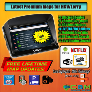 "7"" CMNAV TRAFFIC Truck with LIVE TRAFFIC (512mb RAM) - 2020 EU+UK Maps and Premium POI, Android WiFi, Netflix - C & M Navigation Systems"