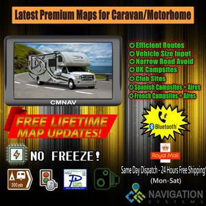 "7"" CMNAV PRO Camper (256 RAM + Bluetooth) - 2020 EU + UK Maps and Premium POIs - C & M Navigation Systems"