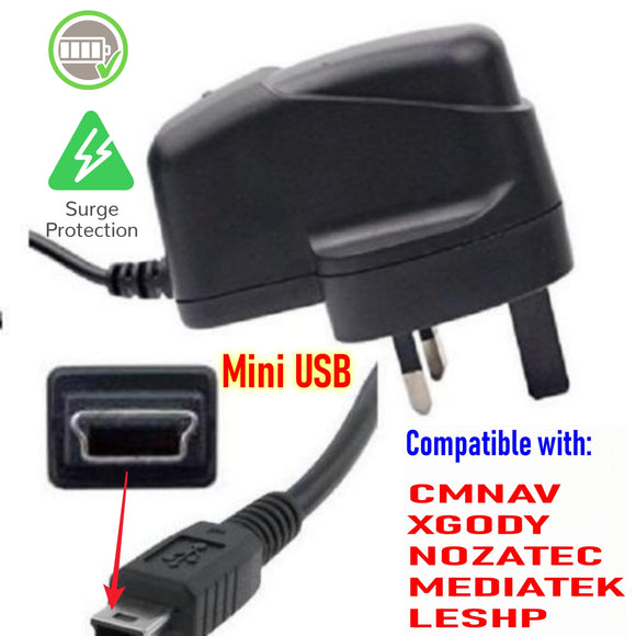 UK Wall Plug Sat Nav Charger (for indoor charge) - C & M Navigation Systems