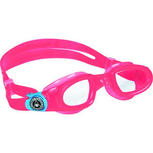AQGMOBK175510 - Aqua Sphere Moby Kid Swimming Goggles - Clear Lens - Pink + White Buckles