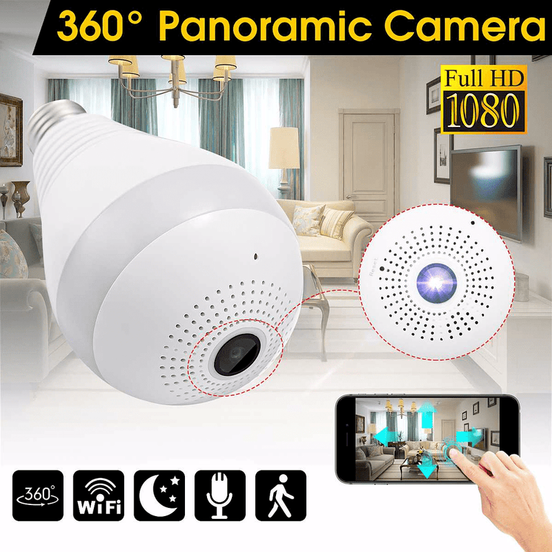 Mini Security IP Camera 360° Panoramic SPY Hidden Wifi Wireless Light Bulb 1080P