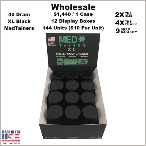 Medtainers- 40 Dram XL Medtainers All Black (144 Units)