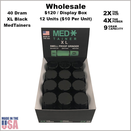 Medtainers- 40 Dram XL Medtainers All Black (12 Units)