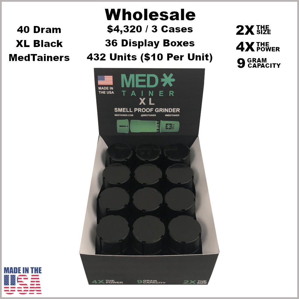 Medtainers- 40 Dram XL Medtainers All Black (432 Units)