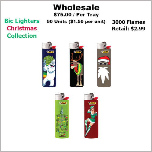 Lighters- BiC Christmas Collection (50 Units)- Not Available Online/Call (951) 547-0801 To Order