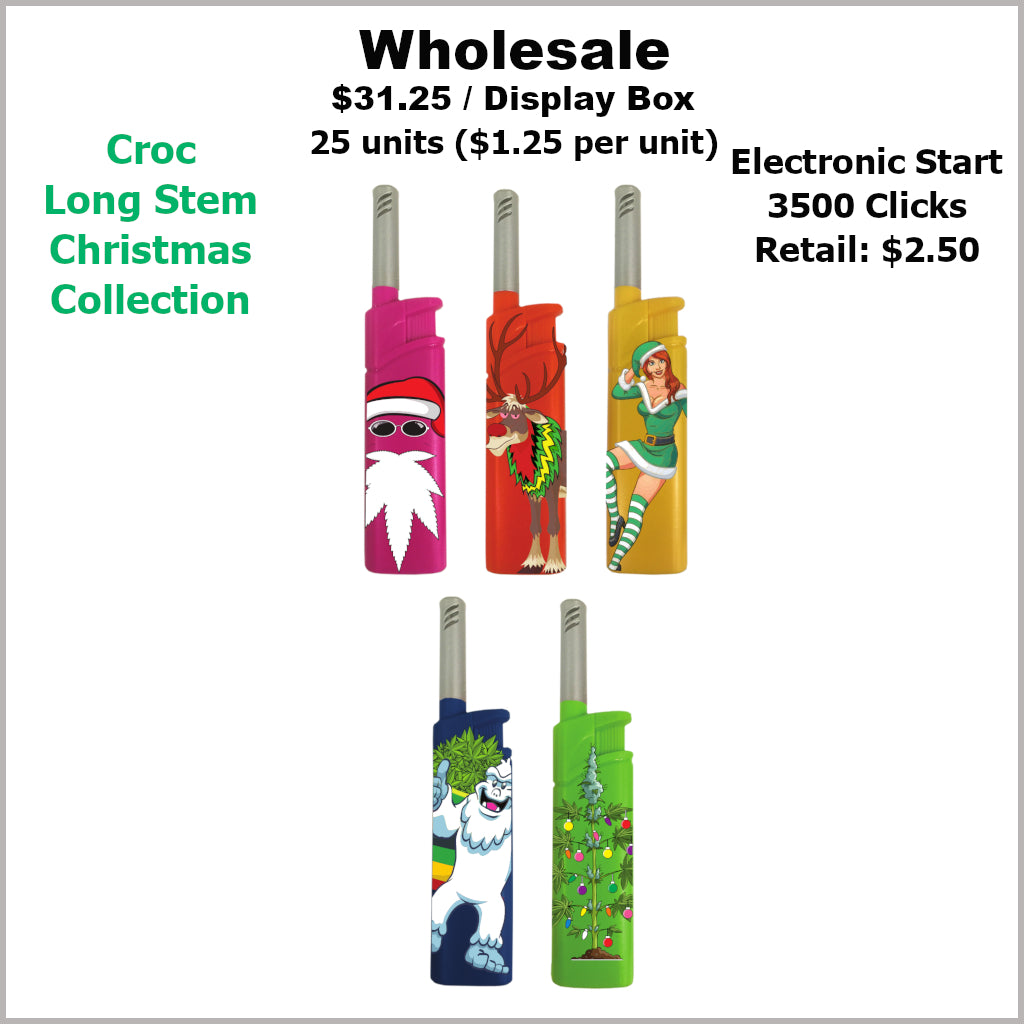 Lighters- Croc Long Stem Christmas Collection (25 Units)