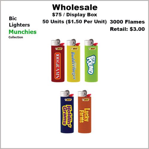 Lighters- BiC Munchies Collection (50 Units) Not Available Online/Call (951) 547-0801 To Order
