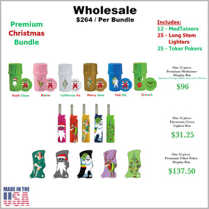 Medtainers, Toker Pokers & Long Stem Lighters- Christmas Collection Bundle