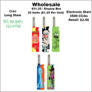 Lighters- Croc Long Stem Rick & Morty Collection (25 Units) Not Available Online/Call (951) 547-0801 To Order