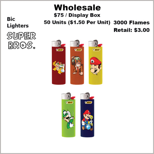Lighters- BiC Super Bros Collection (50 Units) Not Available Online/Call (951) 547-0801 To Order