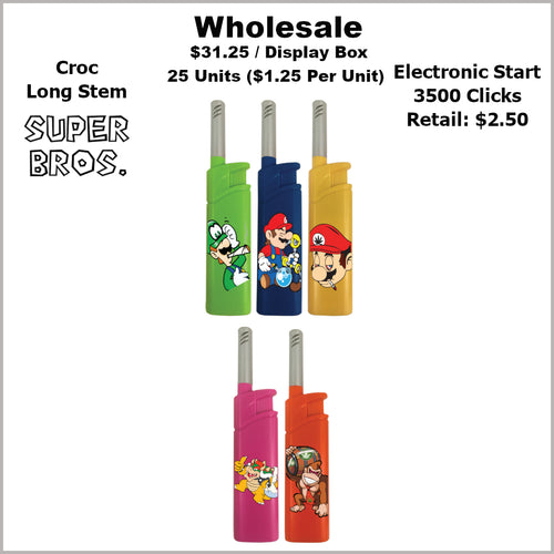 Lighters- Croc Long Stem Super Bros Collection (25 Units) Not Available Online/Call (951) 547-0801 To Order