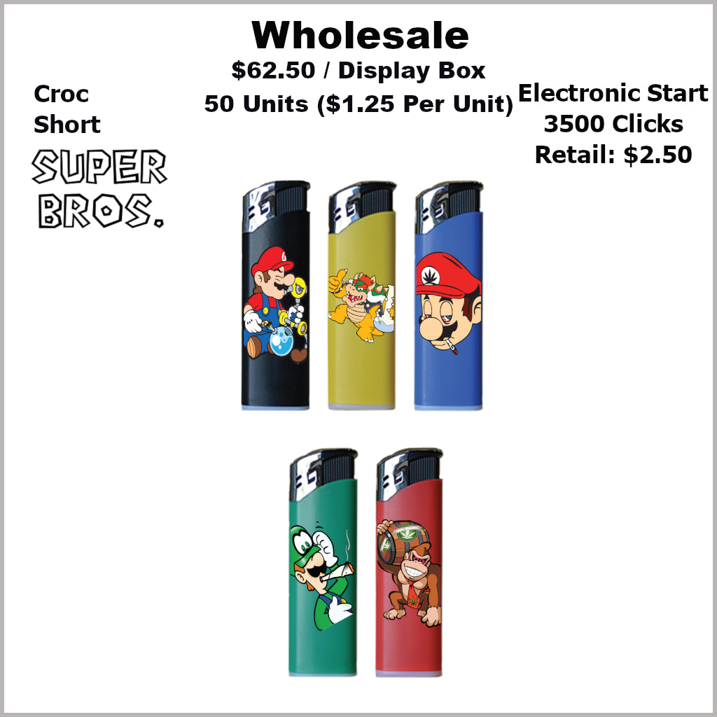 Lighters- Croc Regular Super Bros Collection (50 Units) Not Available Online/Call (951) 547-0801 To Order