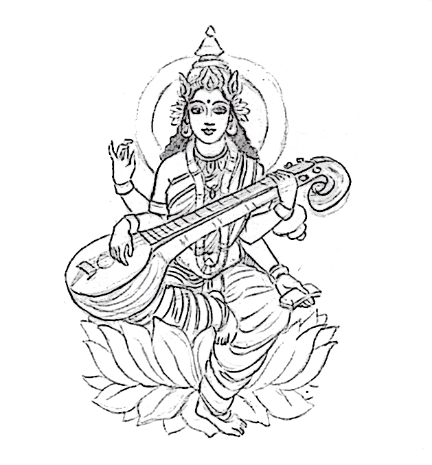 the goddess, Saraswati
