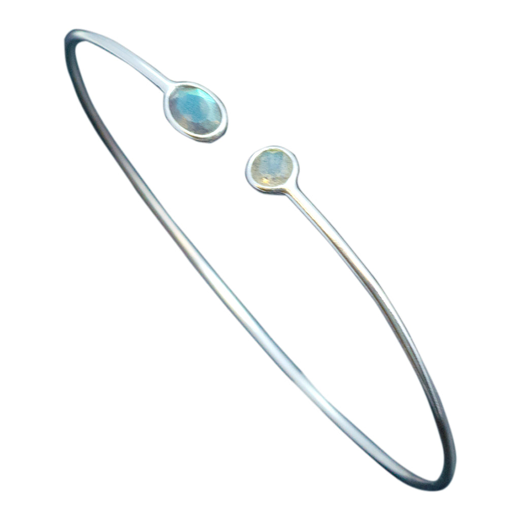 Labradorite Bracelet Bangle Sterling Silver Dew Drop Simple Cute Classic