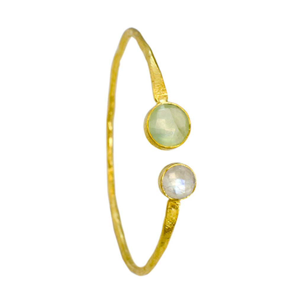 gold vermeil brushed vermeil cuff bracelet bangle prehnite rainbow moonstone green