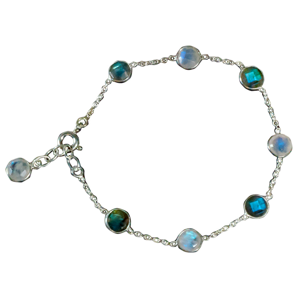 Bubble Chin Bracelet Chain Labradorite Blue