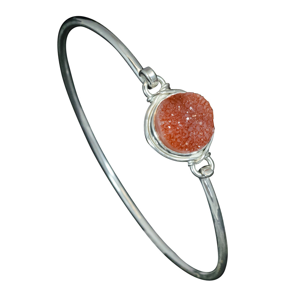 Jazzy round peach druzy with herringbone wrap bangle orange chic cute simple
