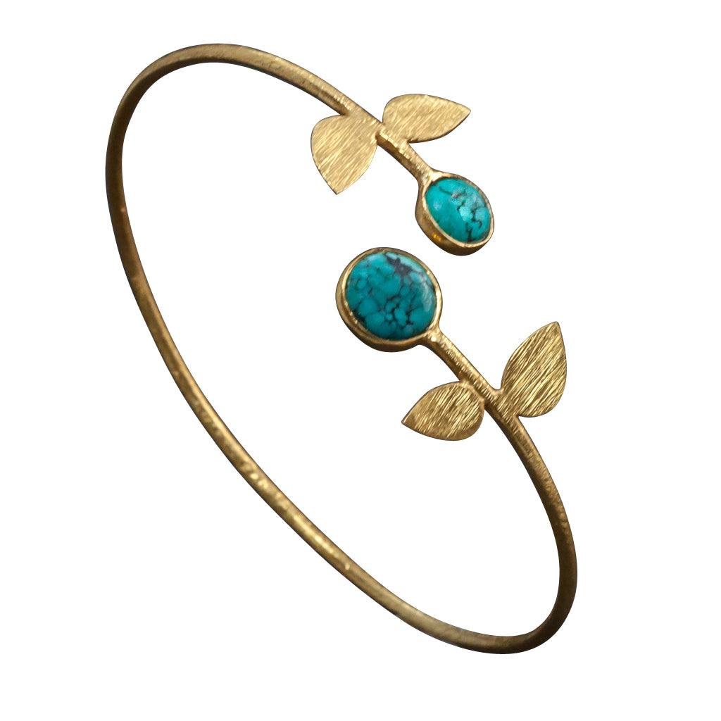 Turquoise vermeil cuff flower bracelet affordable