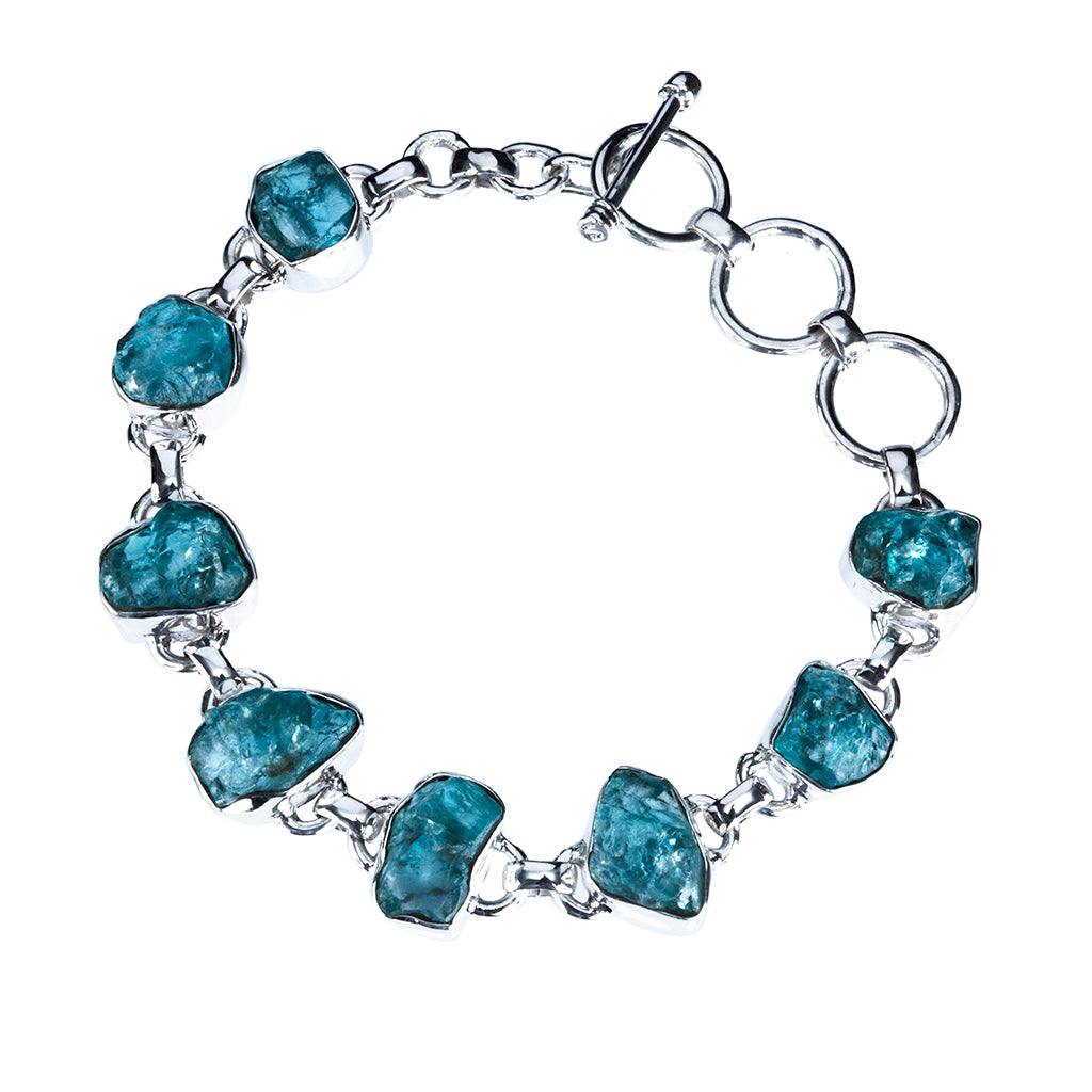 Apatite raw stone natural affordable beautiful silver bracelet