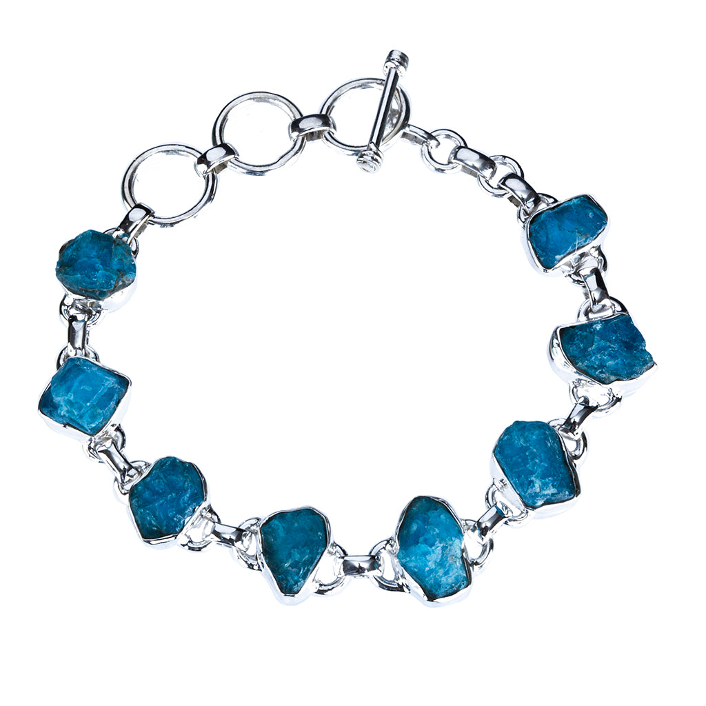 Blue apatite raw stone bracelet silver natural beautiful elegant boho affordable bracelet