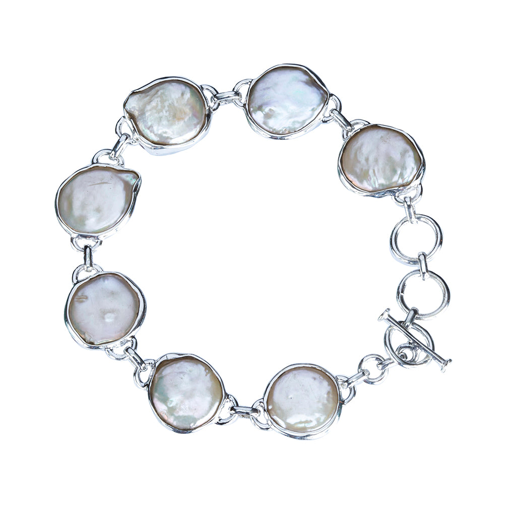 Seven pearl large bracelet silver beachy affordable