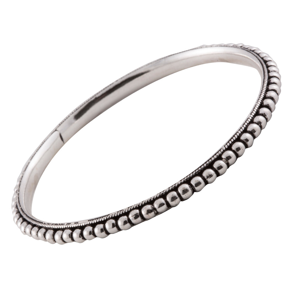 Boho sterling silver bangle bracelet handcrafted affordable jewelry