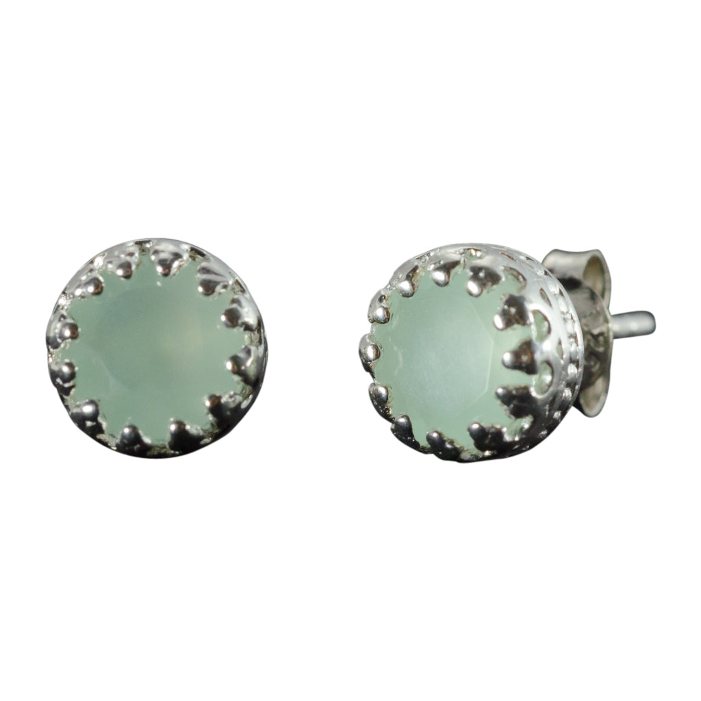 Sterling Silver Light Blue Chalcedony Stud Post Small Circle