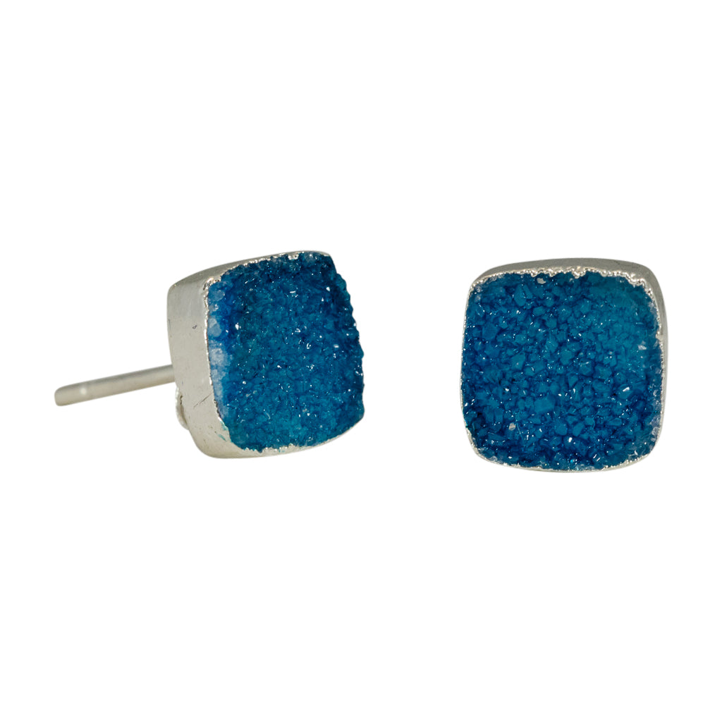 Blue Aqua Druzy Square Post Earring Trendy Boho Stylish Affordable