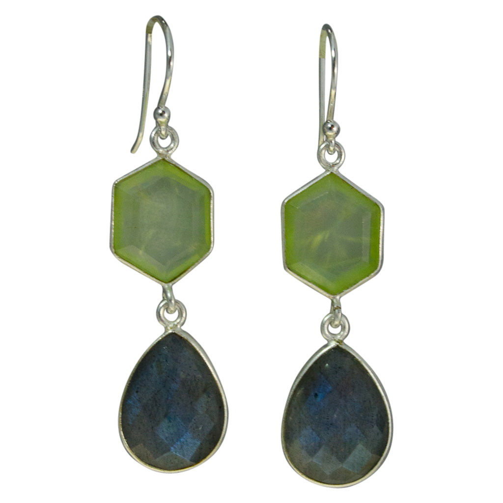 cute stylish dangle stone prehnite green labradorite blue silver earrings